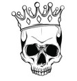 human death skull in crown vector image vector image