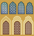 islamic windows and doors with arabian art vector image vector image