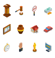 Isometric Auction Icon Set vector image vector image