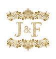 j and f vintage initials logo symbol letters vector image vector image