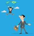man sees the parachutist vector image vector image