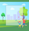 mother and child catching butterflies in city park vector image vector image