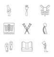 orthopedic disease icon set outline style vector image vector image