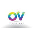ov o v colorful letter origami triangles design vector image vector image