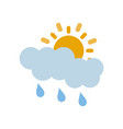 Partly covered cartoon sun with rain clouds icon