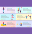 people in park outdoor activity web poster vector image vector image