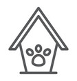 pet house line icon animal and home dog house vector image vector image