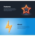 retro lightning and star icon with quotes vector image vector image