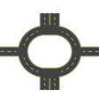 road highway roundabout top view two and vector image vector image