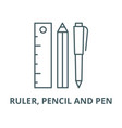 ruler pencil and pen line icon linear vector image vector image