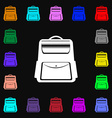 School Backpack icon sign Lots of colorful symbols vector image vector image