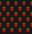 seamless strawberry pattern on dark background vector image