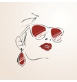 Sensual woman face with glasses vector image