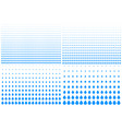 set blue gradient halftone drip dots background vector image