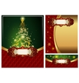 Set of a bright Christmas greeting cards vector image vector image