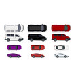 set of black and white red cars side view and vector image