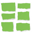 set of green paper different shapes tears vector image vector image