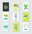 set of greeting cards earth day eco event cute vector image