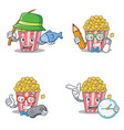 set of popcorn character with fishing student vector image vector image