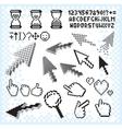 set pixel elements and symbols image vector image