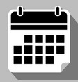 simple flat calendar icon black and white with vector image