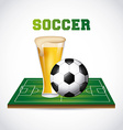 soccer and beer vector image vector image