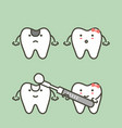 step of decay tooth to teeth filling vector image vector image