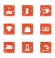 stone gift icons set grunge style vector image