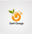 swirl orange logo iconelement and template vector image vector image