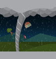 tornado in countryside vector image vector image