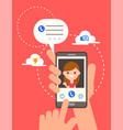 video call online on smartphone hand holding vector image vector image