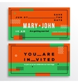 Wedding Invitation Card Template Ticket Shape vector image