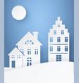 winter landscape paper silhouettes light postcard vector image vector image