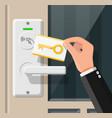 wireless key card in hand with door handle sensor