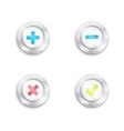 Yes no and plus minus buttons Tick cross round vector image vector image