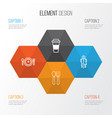 icons set collection of restroom meal hour vector image