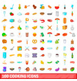 100 cooking icons set cartoon style vector image vector image