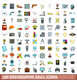 100 engineering skill icons set flat style vector image vector image