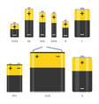alkaline battery different sizes icons set vector image