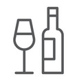 bar line icon alcohol and drink bottle and glass vector image vector image
