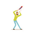 bearded man launches firework rocket for birthday vector image