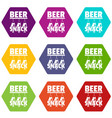 beer snack icons set 9 vector image vector image