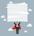 Businessman superhero flying and lifting a lot of vector image