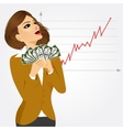 businesswoman enjoying money vector image vector image