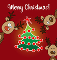 card reindeer rudolph and christmas flat tree vector image