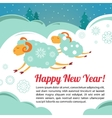 Christmas card with a sheeps vector image