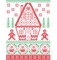 christmas pattern with gingerbread man house vector image vector image