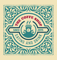 coffee shop label with retro vintage styled design vector image vector image