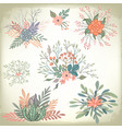 collection vintage romantic floral elements vector image