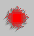 cpu microprocessor red icon vector image vector image